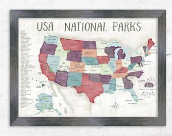 National park map | Etsy