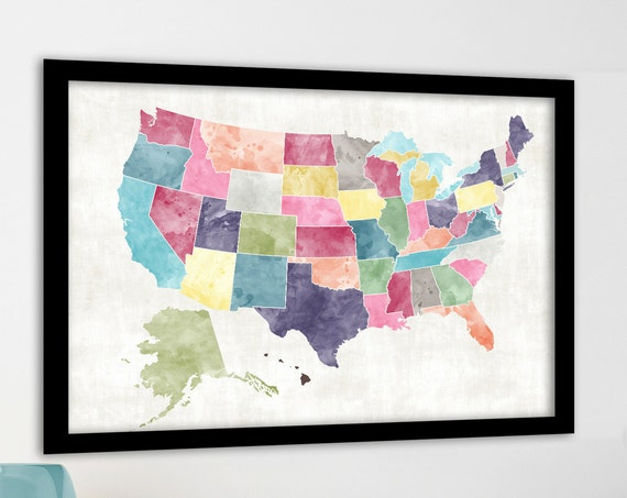 Large USA Map Heart Map. Bright Watercolor Style. Custom sizes. Add Heart or Text. Personalised USA map. USA Map print for family travel map