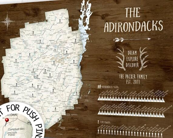 High Peaks ADK, Adirondack Fire Towers, Personalised Hiking Map Poster or Canvas or Pin Map, 46er Peak Bagging Mountain Print, List of Peaks