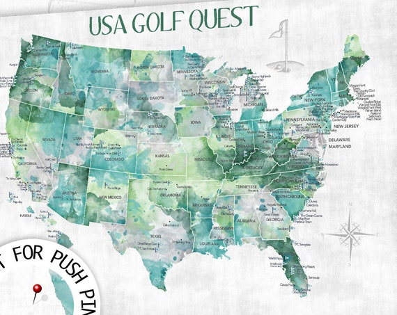 Personalized Golfing Family gift. USA map Golf themed print, poster, canvas or Push Pin Map of USA top golf courses, Digital Golfers gift.