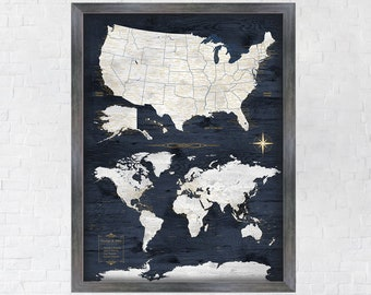 Gift for Husband, Travel Map Navy and Gold, USA Map & World Map in one Large Print, Digital, Unframed Canvas or Large Framed Push Pin Map.