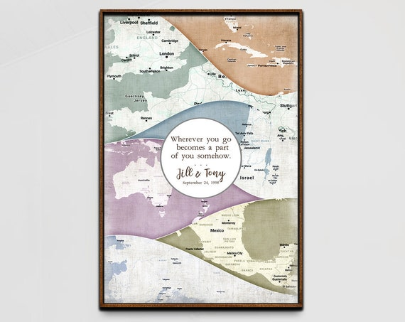 Custom Anniversary Map Print, Personalized Adventure Canvas wall art, Framed Retirement Gift & Romantic Gift, Parents Anniversary Locations