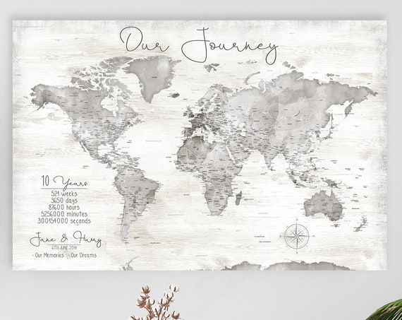 World Map Print, Personalized Anniversary Map Print, Gift for Husband, Any Personalized Wording, Travel Map Poster, Large World Map,