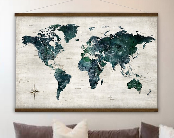 Large World Map with Cities, Home Schooling Canvas Wall Map, Gift for House Warming for Couple for New House Dark World Map Hanging Canvas,