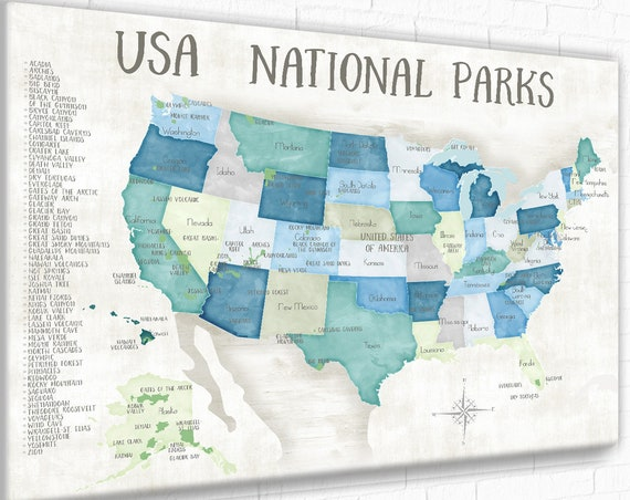 National Park Checklist and map for pins, USA push pin map, Foam mounted, Gift for Hiker or Nature Lover, Adventure Awaits US map for Kids
