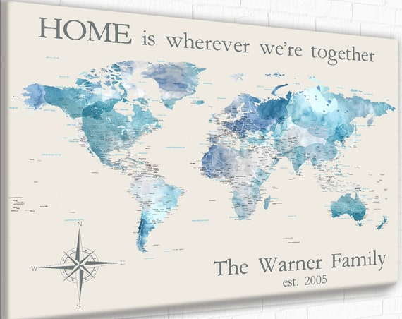 Personalized Anniversary Gift for couple, Personalized World Map for Family Travels, Adventure Awaits World map Customized Blue Push Pin Map