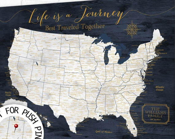Life is a Journey USA Travel Map, Any Custom Title. Works well for a Family USA Push Pin Map for Pinning Travels, Anniversary Personalized