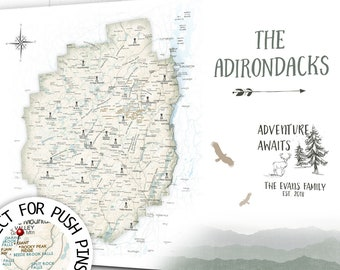 Adirondack Mountain Print, High Peaks, Fire Towers, Lakes and Hiking Locations Map Poster, or Canvas or PinBoard, ADK 46er Mountain Print
