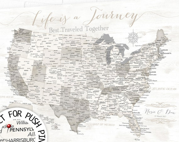 Neutral USA Map with Personalization optional, Life is a Journey, Any Custom Message, Anniversary Travel Inspiration, Gift for Girlfriend,
