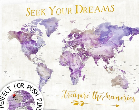 Purple and Gold Art, Elegant Map with any Optional Wording, Travel Gift for Sister, Wanderlust Detailed World Map as Print, Canvas, Pin Map