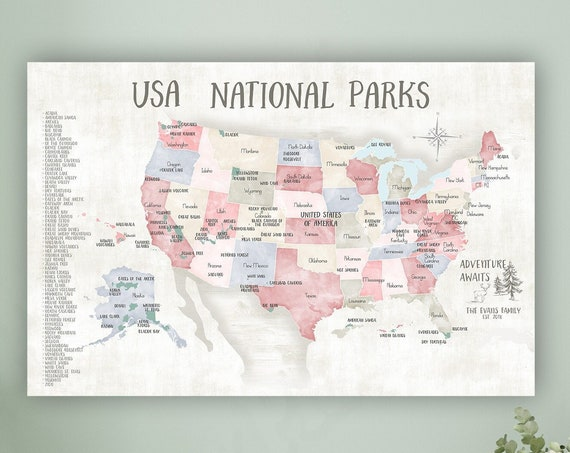 Push Pin USA Map Personalized National Park Canvas, Travel Gift Print with Personalization, United States Adventures Push Pin Wall Map Art