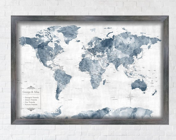 Framed Push Pin Map, Also Canvas and Un-Mounted World Map Styles Personalize with Names, Special Anniversary Date Gift for Husband / Couple