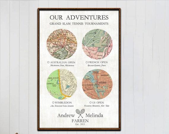 Grand Slam Tennis, Custom Anniversary Map gift, Tennis Tournament Quest, Tennis Travel Map, Personalized Adventure, Wimbledon Tennis Gift