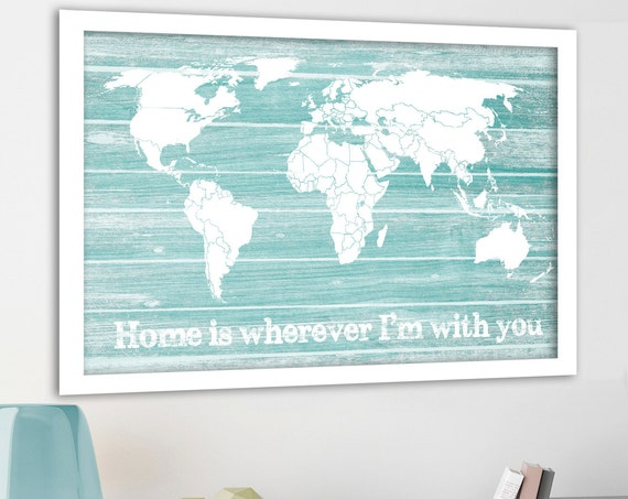 Personalised Push Pin Map, Map as a Gift, Travel Map, Mint Green Print, Rustic World Map,Travel Canvas Map, Map for pinning travels, Pushpin