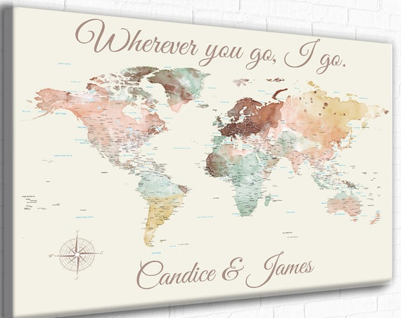 Personalized Romantic World Map Poster, Customized text, Perfect Paper anniversary gift for Husband, Gift for wife for Anniversary, Pin Map