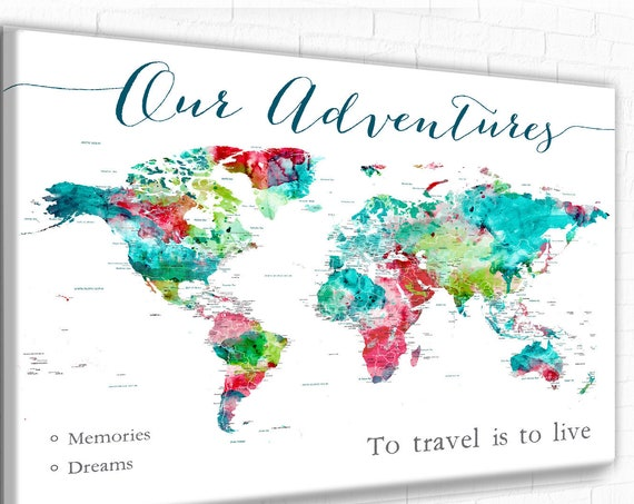 Our Adventures Travel World Map Wall Art, Push Pin Maps, Large World Map Poster Print, Adventure Awaits map, Personalized Map with Legend