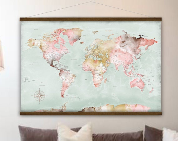 World Map Wall Hanging Canvas, Map of the World, Anniversary Personalized Travel Gift for Wife Push Pin Map Legend for Family Adventures,