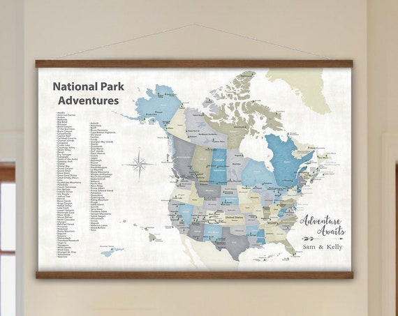 Road Trip Map, USA and Canada Canvas Wall Map, Parks of North America, Personalization and Free Shipping, Happy Place Art Rustic Wall Map