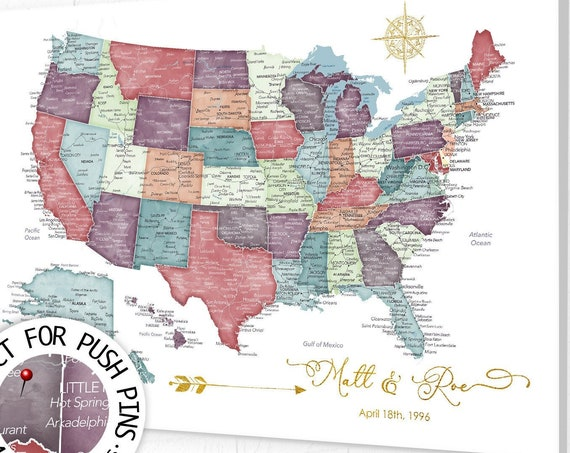 USA Travel Map for Push Pins, Detailed United States Map with Main Highways, Cities, Personalized Names, Frame, Poster. Canvas or Download