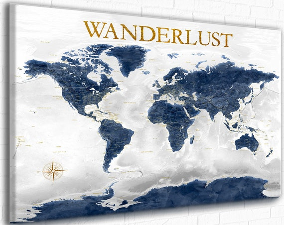 Navy and Gold World Map Canvas or Push Pin Map of the World, Wanderlust, Adventure Awaits Personalized Custom Text World Map Office Wall Art