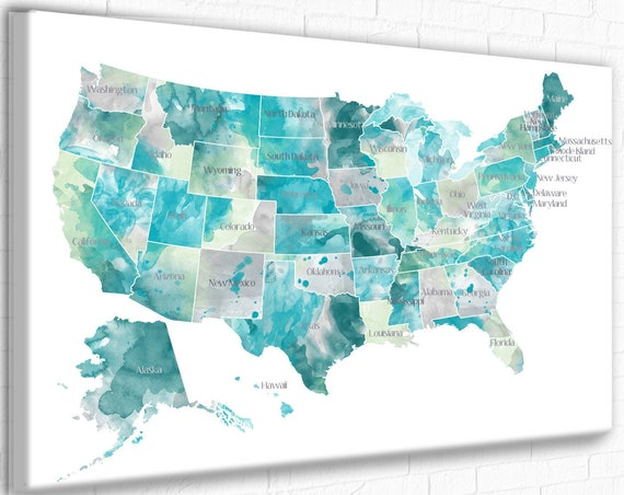 USA map with States, Aqua, Mint & Gray, State names on USA Map, Watercolor US Map, Push Pin Travels, Canvas usa Map, Pin on Map, usa states