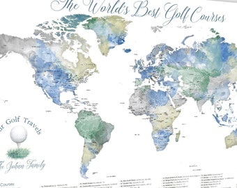 Large Golf Course Print, Map of World Best Golf Locations, Push Pin Map Print or Canvas, Personalized Gift, Wall Art for Golf Theme Man Cave