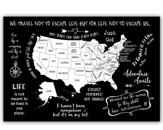 USA Bucket List Map with Travel Quote. Travel Poster for RV Road trips. USA Adventure Map. Gift for Traveling Family Camper Trailer Decor.