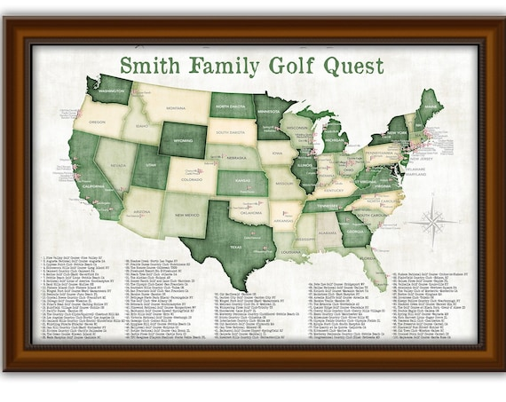 Framed Golf Print Top Pro Golfer USA Golfing Destinations Tracking Locations of Golf Courses in the US Canvas, Poster or Framed Push Pin Map