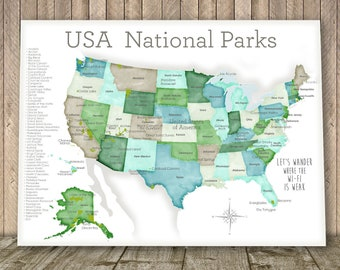 National Parks Map Of Usa.National Park Map Etsy