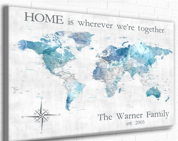 Large Family Travel World Map, Push Pin Map, Personalized Text Canvas or Framed World Map for Pins, Customized World Map, World Map Wall Art