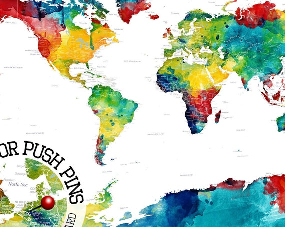 Colorful Detailed PushPin Map with Personalization included. Mounted Canvas or Framed Poster, Map of the world in bright Watercolor Pin map