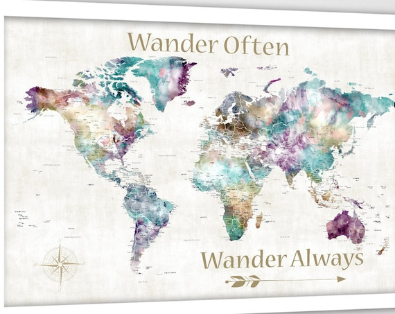 Wander Often Push Pin Map, Motivational Print Map of the World with quote for Young Traveler, Large Personalized Wall Map, Detailed WorldMap