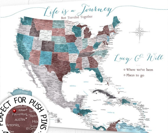 Travel Map of Caribbean, USA & Mexico. Large Pin Push Pin Map for Anniversary or Destination Wedding, Large Caribbean Adventure Awaits Map
