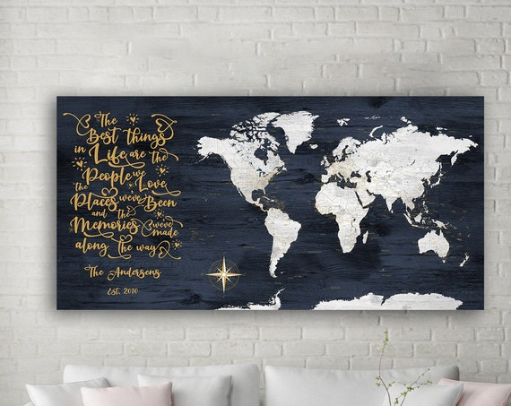 Best Things In Life World Adventure Map, Personalized Navy world map, Push pin Canvas Family Travel Map, Places We've Been, People We Love