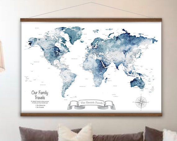 Navy and Gray World Canvas Map, Large Wall Map Art Print, Personalised Map of The World, Watercolor Map with city labels, Anniversary Map