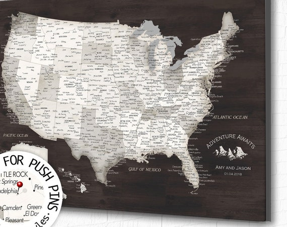 Personalized USA map with detailed city names included. Chocolate Brown US Push Pin Map with Legend. Retirement Party or Couple Travel Gift