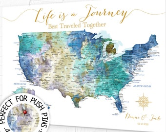 USA Travel Map for Push Pins, Wall Art Map of United States, Personalized with Names, Large US map, Framed, Poster. Canvas or Download Map