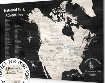 USA Travel Map, National Parks Map, National Parks Gift, National Parks Travel Map, National Park Push Pin Map of North America Pin Map