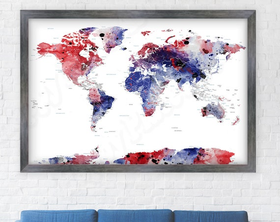 Teenage boy wall art, Teen bedroom, Masculine Print, World map for pins. Personalized Adventure Pinboard Map. Red White and Blue wall art