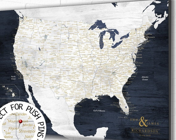 US Map with National Parks, Personalized map for Push Pins, Detailed USA Map, Framed hiking gifts, Travel Gift for Man, Rustic Wall Map