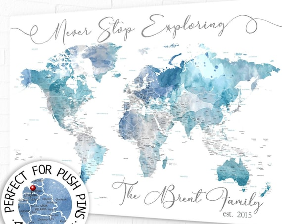 Never Stop Exploring World Map Gift for Wife, Pin Board Map Personalized Legend, Custom Anniversary Gift, Print or Push Pin Travel Map Art