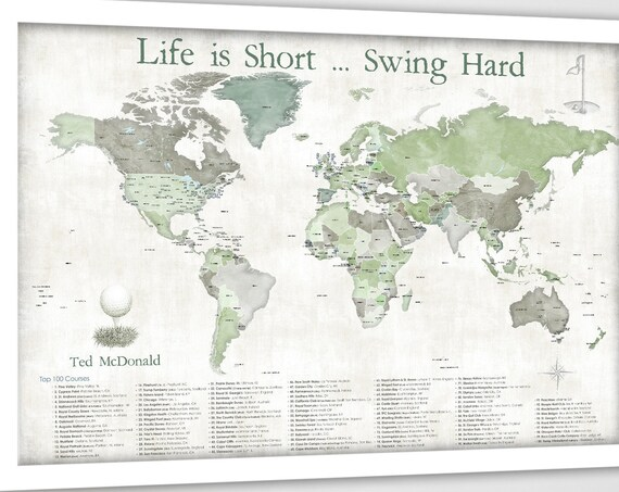 Framed Map of Golf Courses, Canvas, Paster or Push Pin Golfing Map, Gift for Golf Enthusiast, Golf Player, Personalized Female Golfer Gift