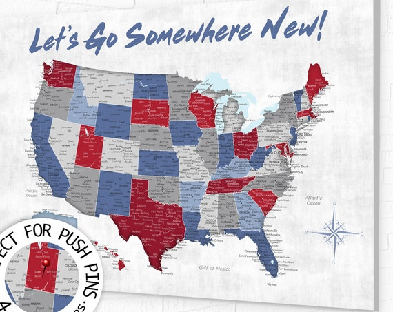 Map for New Adventures, USA Travel Map. Use Push Pins to Plan a Next Vacation with Different Color Pins. Add Personalized Legend for Free.