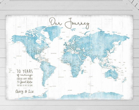 Anniversary Adventure Map, Life is a Journey, Any Personalized Wording Large Canvas, Poster, World Push Pin Map for Family Travels for Wife