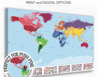 Flags of the world map poster world map flags flag map art etsy detailed world map with city labels map with flags world map print country flags educational world map travel map world map push pin gumiabroncs Choice Image