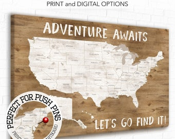 Adventure Awaits, Adventure Map, Personalised Text, USA map with city, State names, Pin Travel map, Map of USA, Wood Grain, Neutral USA map,