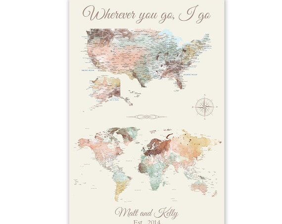 Anniversary Gift for Wife, Personalized Message for Couple, World & USA map on Single Print, Romantic Map Canvas with Names, Date or Message