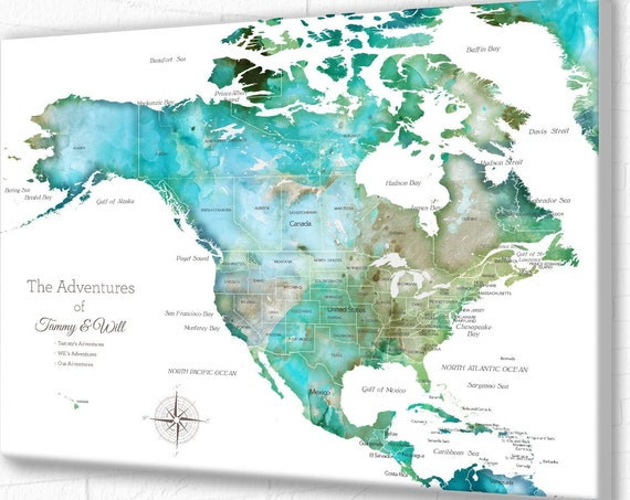North America map with Caribbean, USA & Canada, Map for family vacation, Pinning travels, Adventure Cruise Push Pin Map Caribbean Islands.