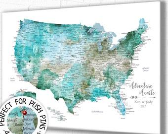 USA Push Pin Map, Perfect Anniversary Gift for Husband. Pin Board USA Map. Canvas, Large Poster or Digital Printable, Large USA Map Wall Art