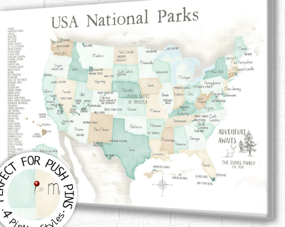 Personalized US National Parks map, Adventure for Push Pin, Mark off National Park Visits on Bucket List With Pinnable List US Park Wall Map